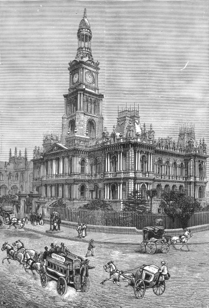 Associate Product AUSTRALIA. New South Wales. The Town Hall, Sydney 1886 old antique print