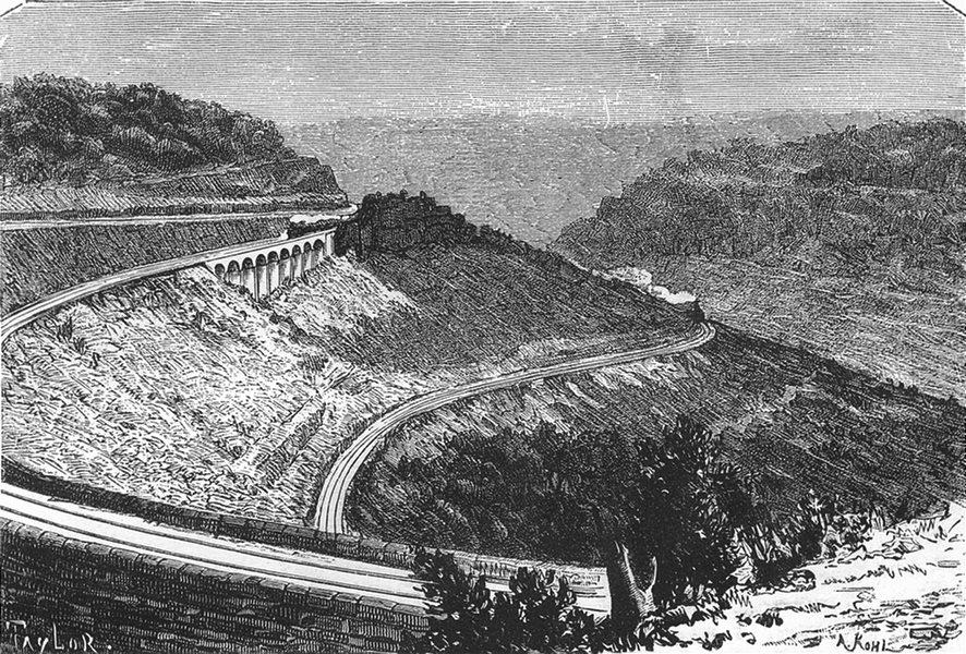 Associate Product AUSTRALIA. NSW. Zigzag railway, Blue Mountains 1886 old antique print picture