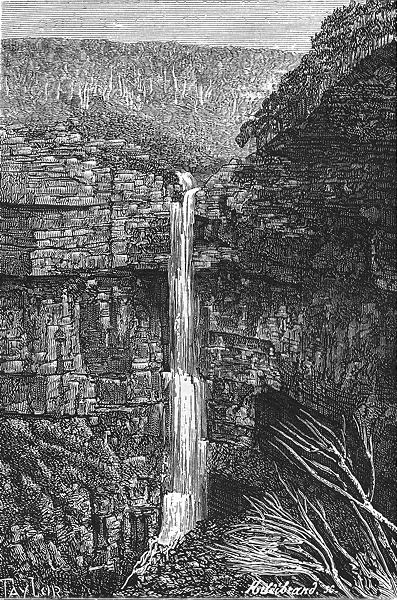 Associate Product AUSTRALIA. New South Wales. Waterfall at Govett 1886 old antique print picture