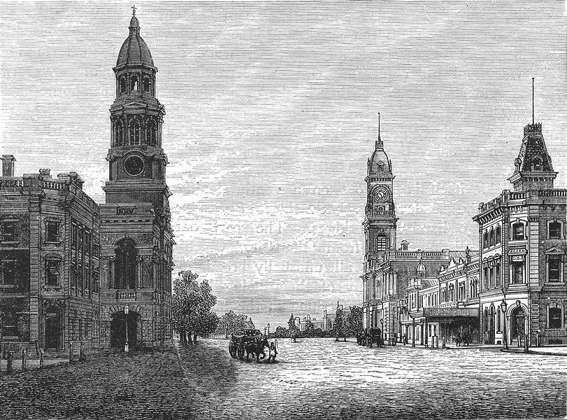 Associate Product AUSTRALIA. South Australia. King William Street, Adelaide 1886 old print