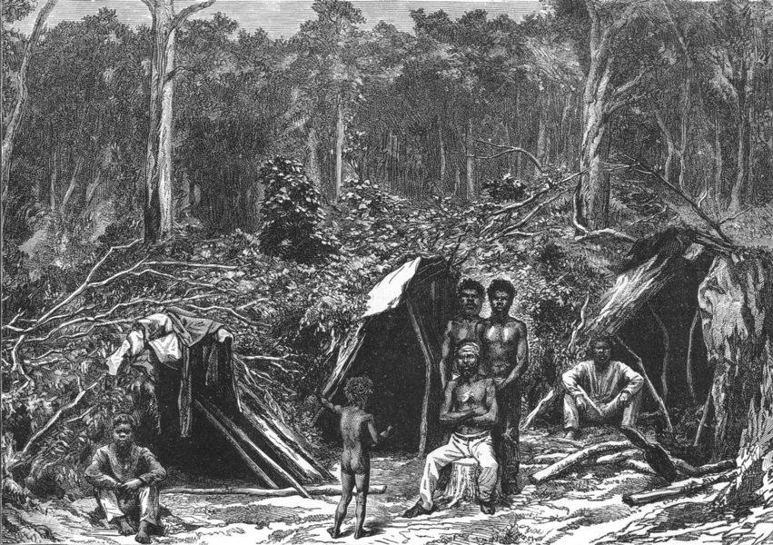 Associate Product AUSTRALIA. Native Encampment 1886 old antique vintage print picture