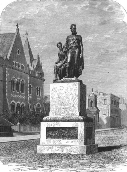 AUSTRALIA. Monument to Burke and Wills in Melbourne 1886 old antique print