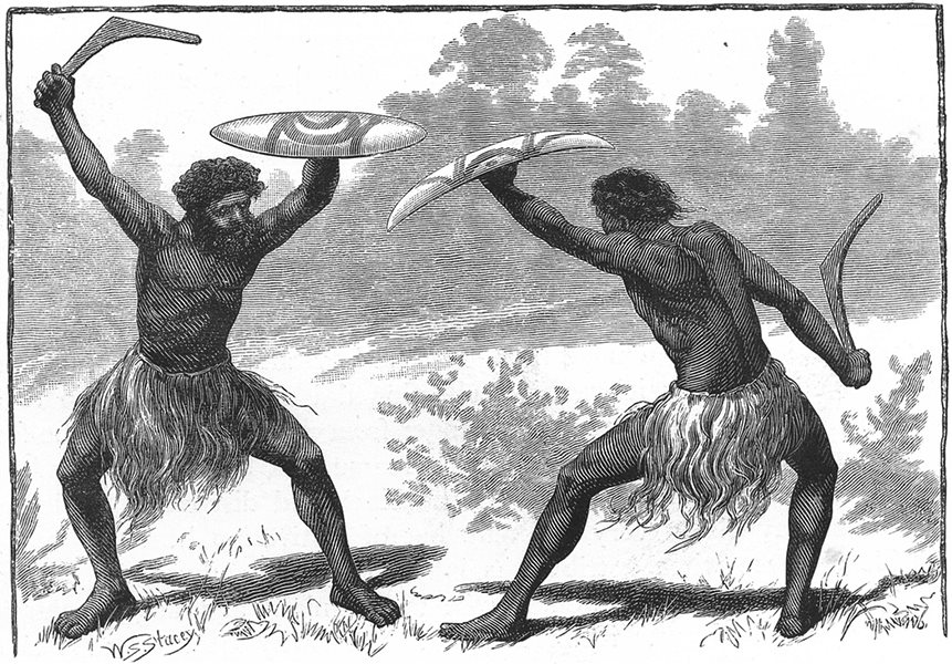 Associate Product AUSTRALIA. A Glance at the Aborigines. A Waddy Fight 1886 old antique print