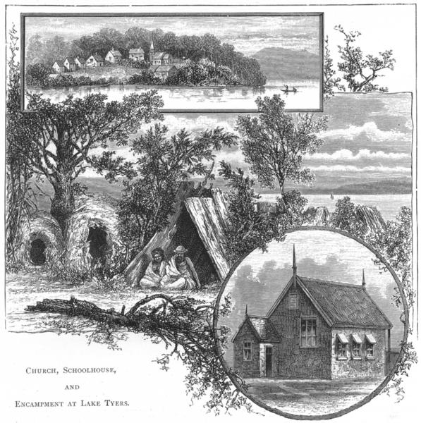 Associate Product AUSTRALIA. Aborigines. Church, Schoolhouse & Camp at lake Tyers 1886 old print