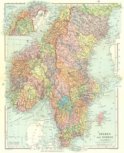 Associate Product SCANDINAVIA. Sweden & Norway. Showing  counties/Läns/Amts. STANFORD 1906 map