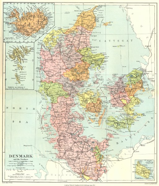 Associate Product DENMARK. Shows all of Schleswig as German. Iceland. STANFORD 1906 old map