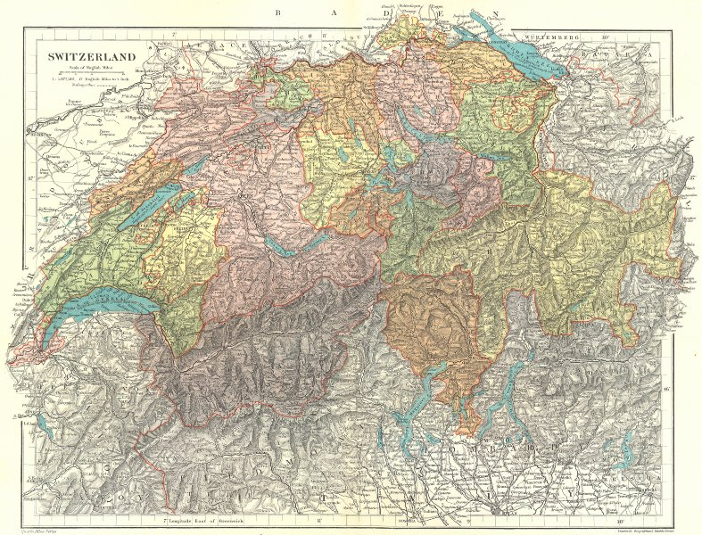 Associate Product SWITZERLAND. showing railways & cantons.. STANFORD 1906 old antique map chart