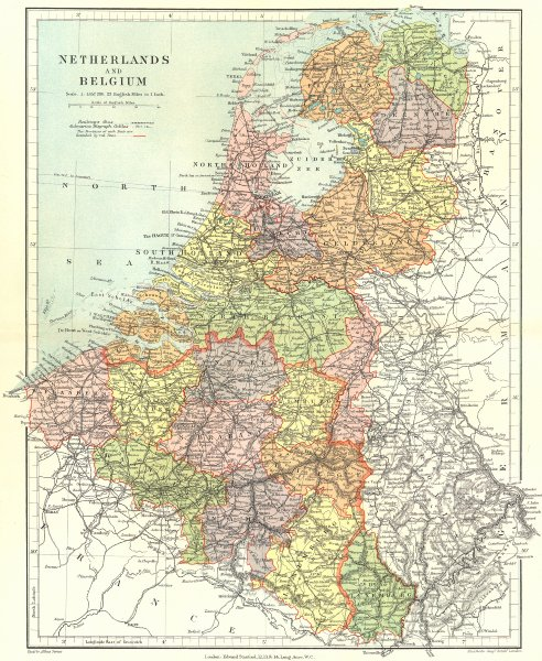 Associate Product BENELUX. Netherlands, Belgium & Luxembourg showing provinces. STANFORD 1906 map