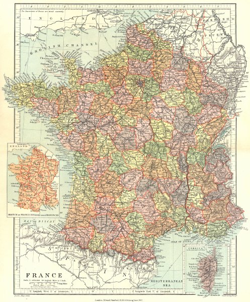 Associate Product FRANCE. in departments, w/o Alsace Lorraine. Inset provinces. STANFORD 1906 map