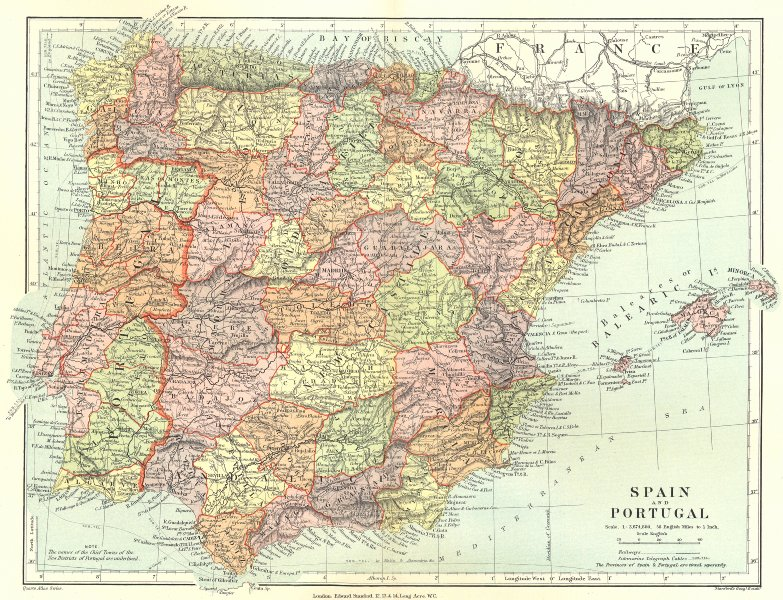 Associate Product IBERIA. Spain and Portugal showing provinces. STANFORD 1906 old antique map