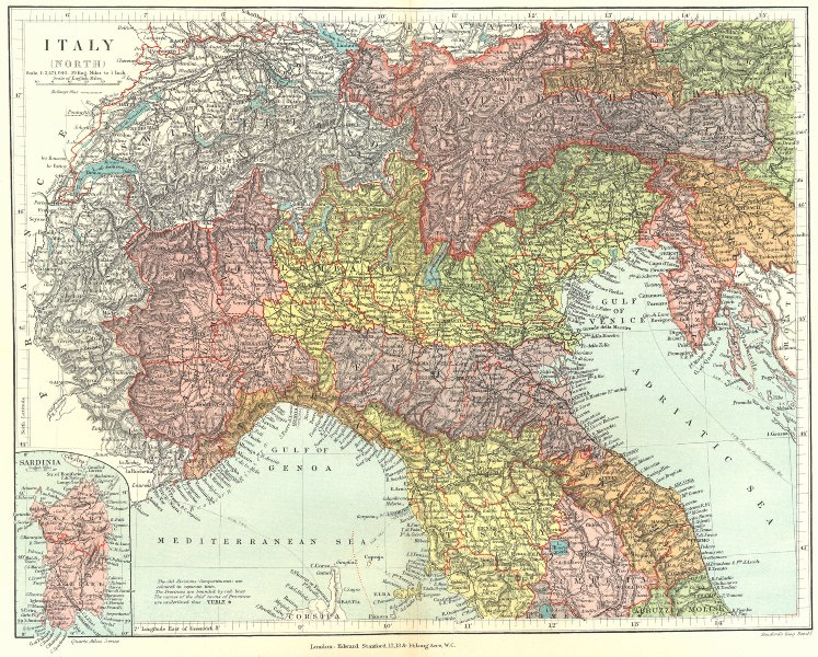 Associate Product NORTHERN ITALY. Showing provinces and compartmenti. STANFORD 1906 old map