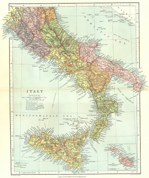 Associate Product SOUTHERN ITALY. Showing provinces & compartmenti. Inset Malta.STANFORD 1906 map