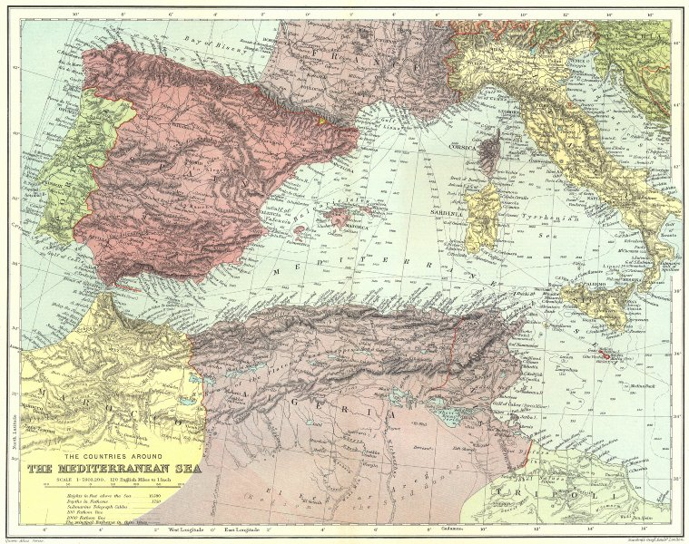Associate Product WESTERN MEDITERRANEAN. submarine cables.Iberia N Africa Italy.STANFORD 1906 map