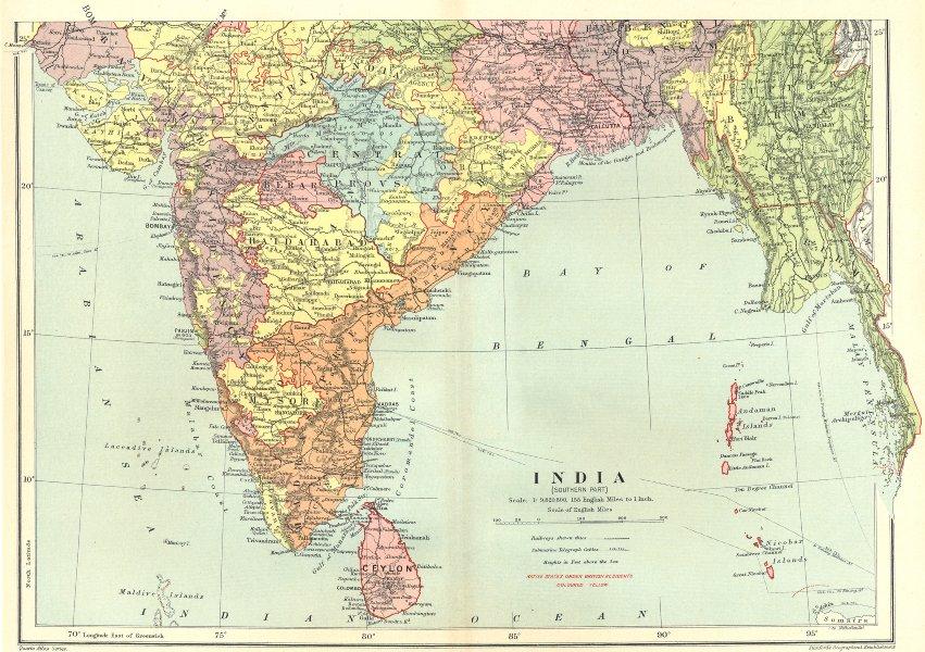 Associate Product SOUTH BRITISH INDIA. Ceylon Burma. Bay of Bengal. Mysore. STANFORD 1906 map