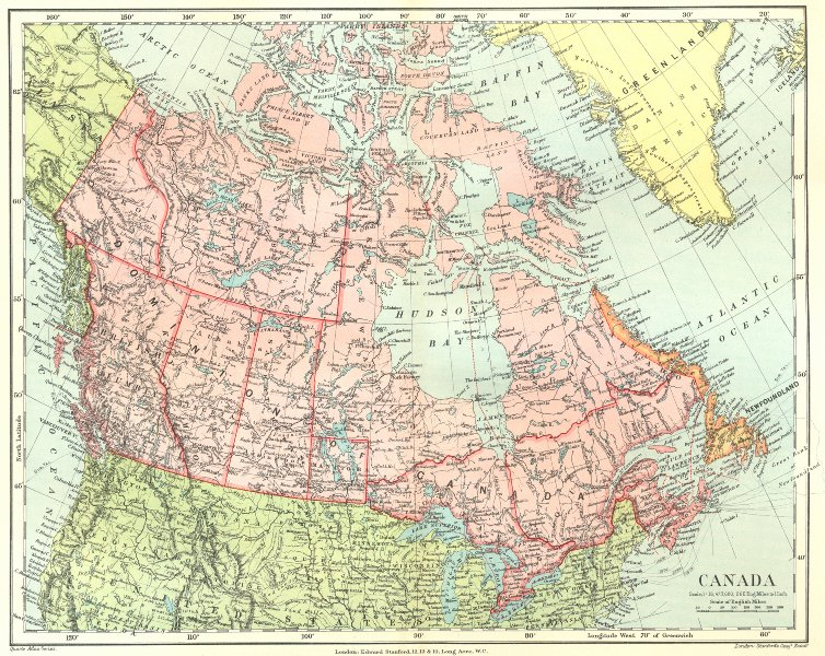Associate Product DOMNION OF CANADA. colony of Newfoundland & Labrador separate.STANFORD 1906 map