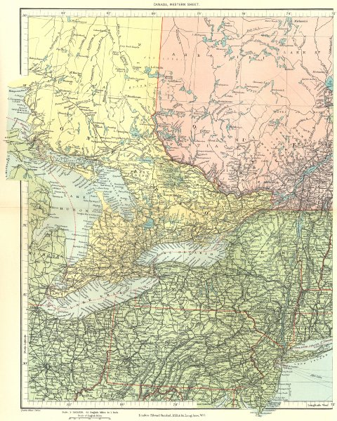 Associate Product GREAT LAKES. Ontario Quebec New York PA. Huron Ontario Erie. STANFORD 1906 map