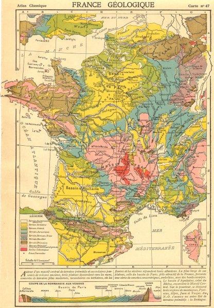 Associate Product FRANCE. France Geologique. Inset map of Corsica 1923 old vintage chart