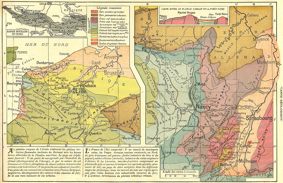 Associate Product FRANCE. Du Nord de L'est(Carte Geologique)Bassin Houiller 1923 old vintage map