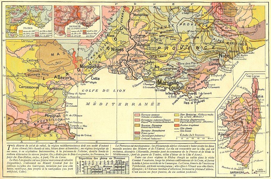 Associate Product FRANCE. Mediterranean; Rainfall; population density; Corsica 1923 old map