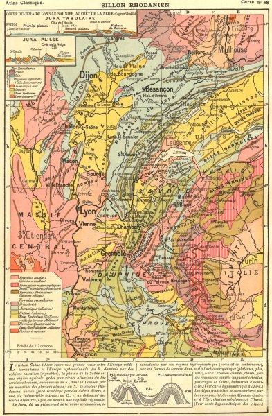 Associate Product FRANCE. Alpes du Jura Sillon Rhodanien; Insets. Tabulaire; Plisse 1923 old map