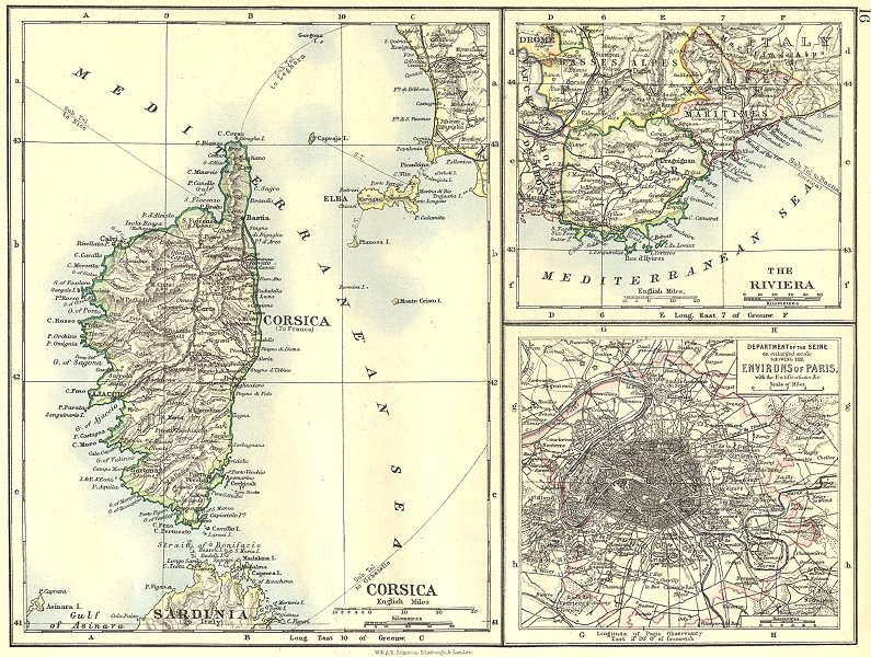 Associate Product FRANCE. Corsica; Riviera; Dept of Seine, enlarged area Paris with Fort 1897 map