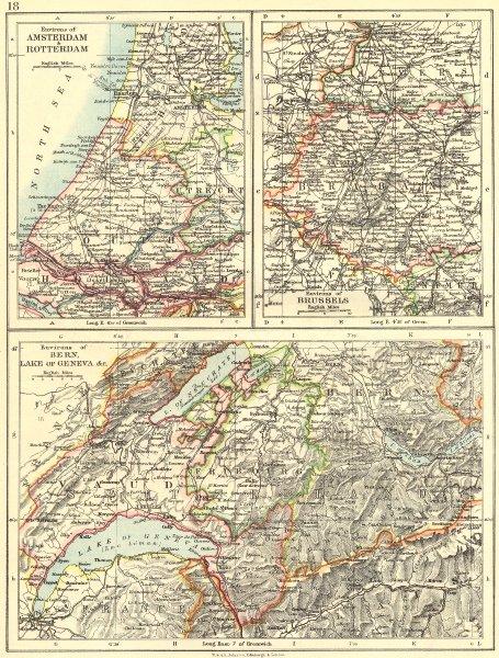 Associate Product SWITZERLAND. Area of Berne, lake Geneva; Amsterdam Rotterdam; Brussels 1897 map