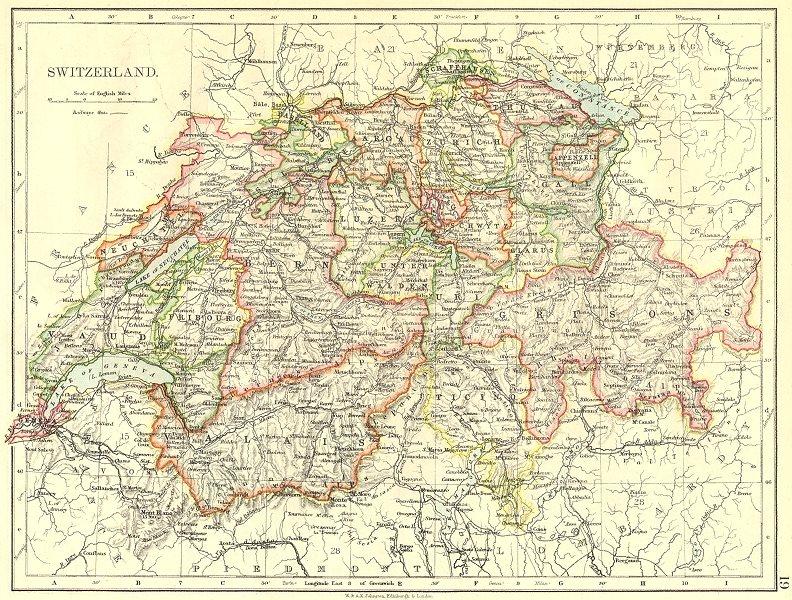 Associate Product SWITZERLAND. Switzerland 1897 old antique vintage map plan chart