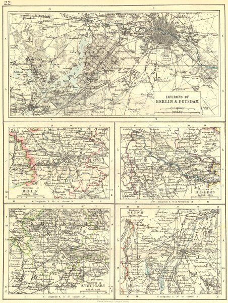 Associate Product GERMANY. Area of Berlin & Potsdam; Dresden; Stuttgart; Munich 1897 old map
