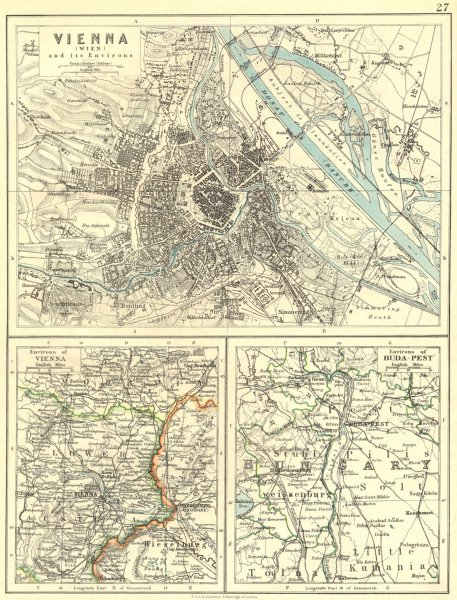 Associate Product AUSTRIA. Vienna Wien area; Budapest 1897 old antique vintage map plan chart
