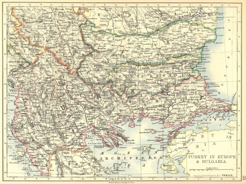 Associate Product BALKANS. Turkey in Europe and Bulgaria 1897 old antique vintage map plan chart
