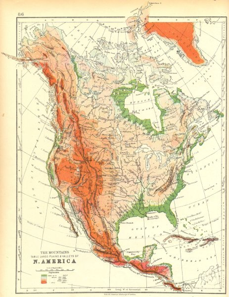 Associate Product USA. The Mountains table lands plains & Valleys of N America 1897 old map