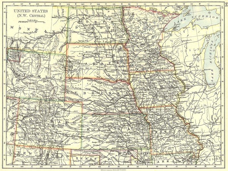 Associate Product USA. NW Central Dakota Wyoming Colorado Kansas Iowa Missouri Minnesota 1897 map