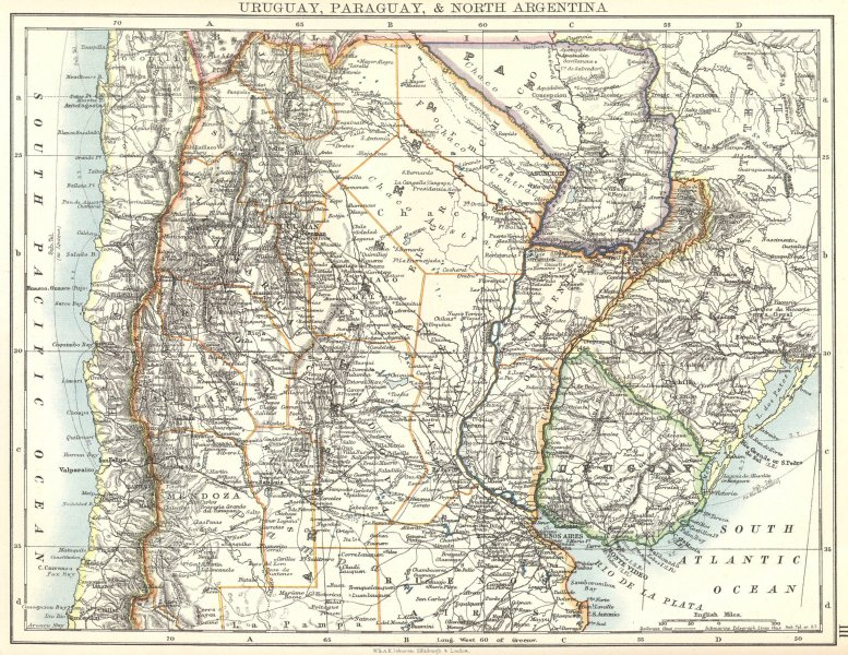 Associate Product PARAGUAY. Uruguay, Paraguay & North Argentina; Chile 1897 old antique map