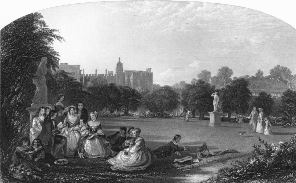 Associate Product LONDON. A Summer noon, Hampton court c1870 old antique vintage print picture