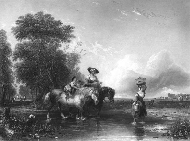 HORSES. Crossing the stream c1870 old antique vintage print picture