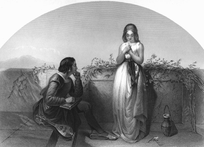 Associate Product ROMANCE. First love c1870 old antique vintage print picture