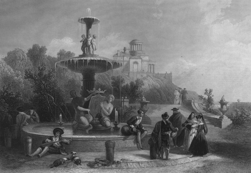 Associate Product SPAIN. The fountain at Madrid-Roberts c1870 old antique vintage print picture
