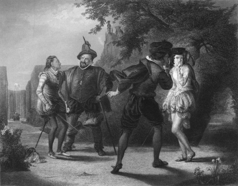 SHAKESPEARE. Duel, 12th Night, Act 3 scene 4 c1870 old antique print picture