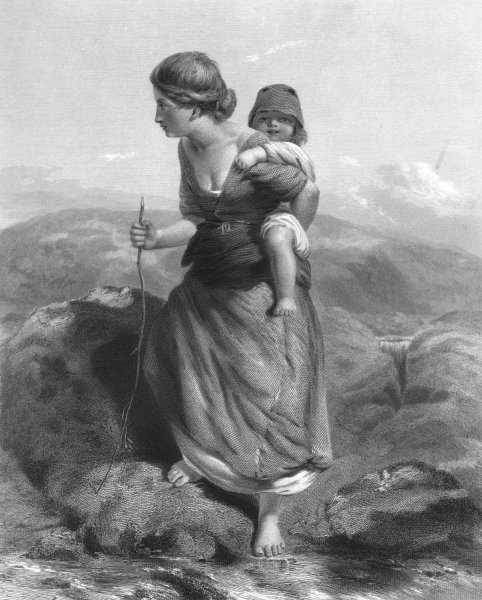 Associate Product CHILDREN. The Mountaineer c1870 old antique vintage print picture