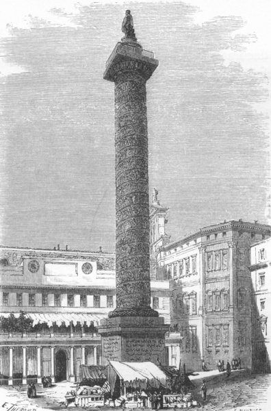 Associate Product ROME. Column of Antoninus 1872 old antique vintage print picture