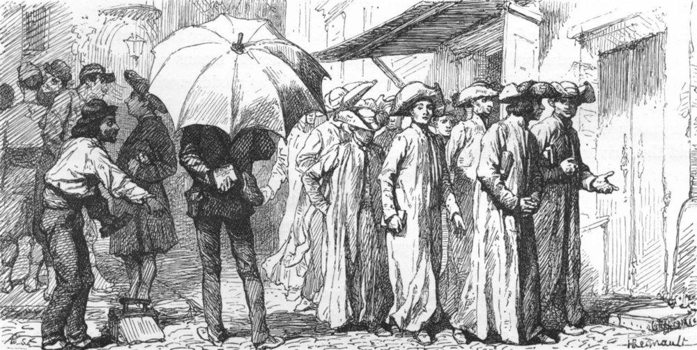 Associate Product ROME. Scholars with voluminous shovel-hats 1872 old antique print picture