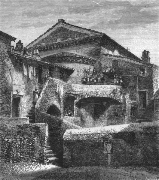 Associate Product ROME. Behind San Crispino 1872 old antique vintage print picture