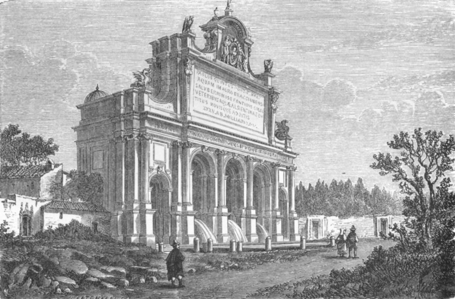 Associate Product ROME. The Pauline Fountain 1872 old antique vintage print picture
