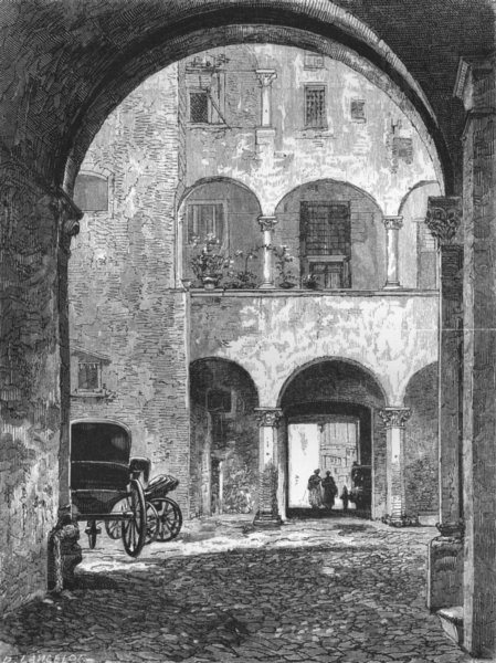 Associate Product ROME. Palazzo Governo Vecchio, Via Della Pescheria 1872 old antique print