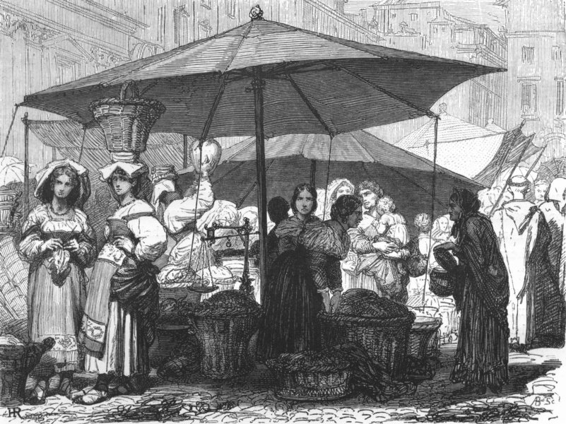 Associate Product ROME. The Market of the Piazza Navona 1872 old antique vintage print picture