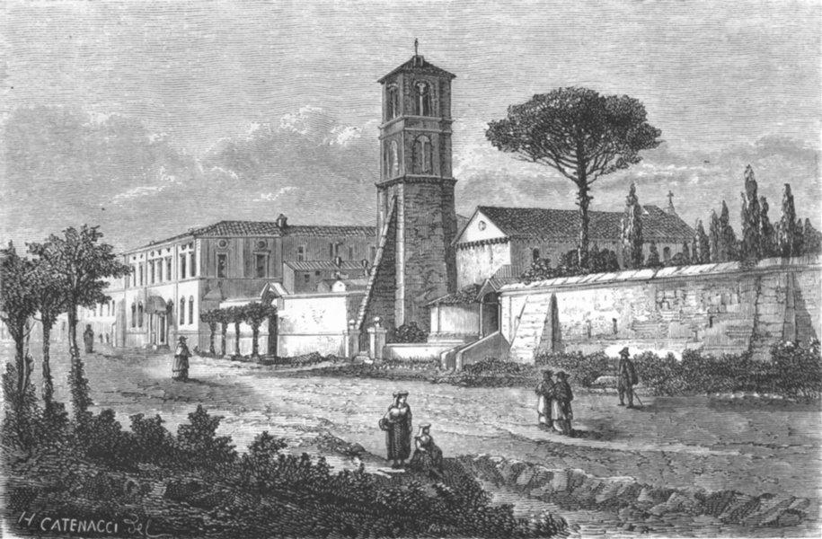 Associate Product ROME. St Agnes extra Muros, Via Nomentana 1872 old antique print picture