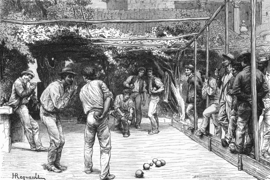 Associate Product ROME. Players at Bowls 1872 old antique vintage print picture