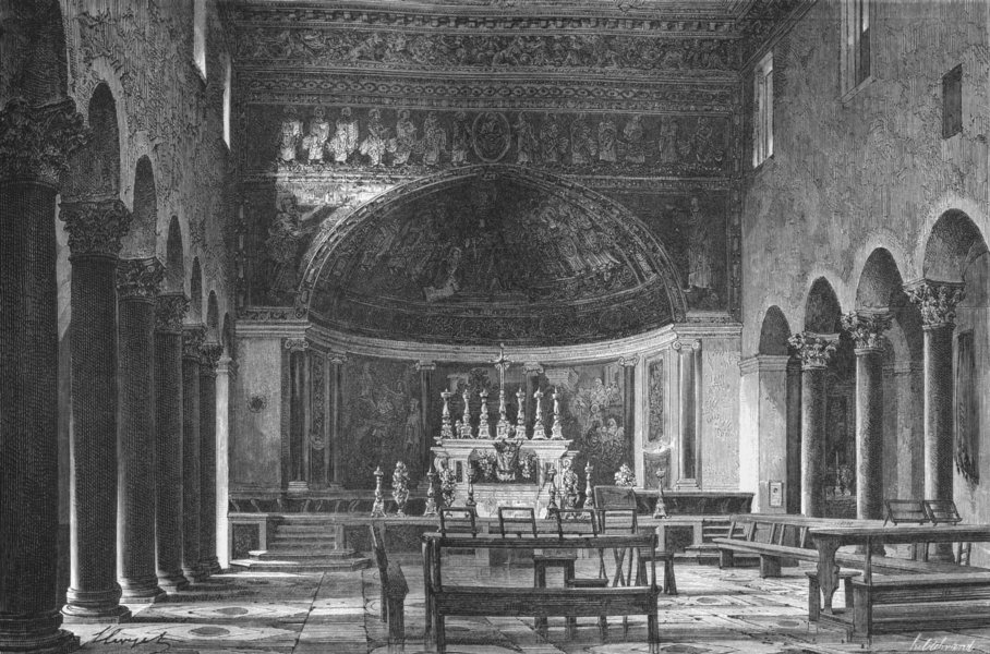 Associate Product ROME. Sta Maria in Domnica 1872 old antique vintage print picture