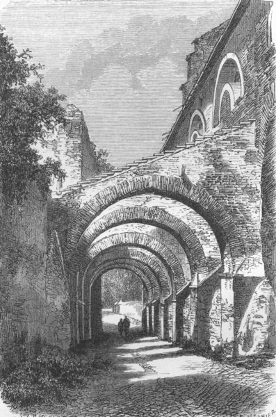Associate Product ROME. San Giovanni E Paolo arches, from Coelia 1872 old antique print picture