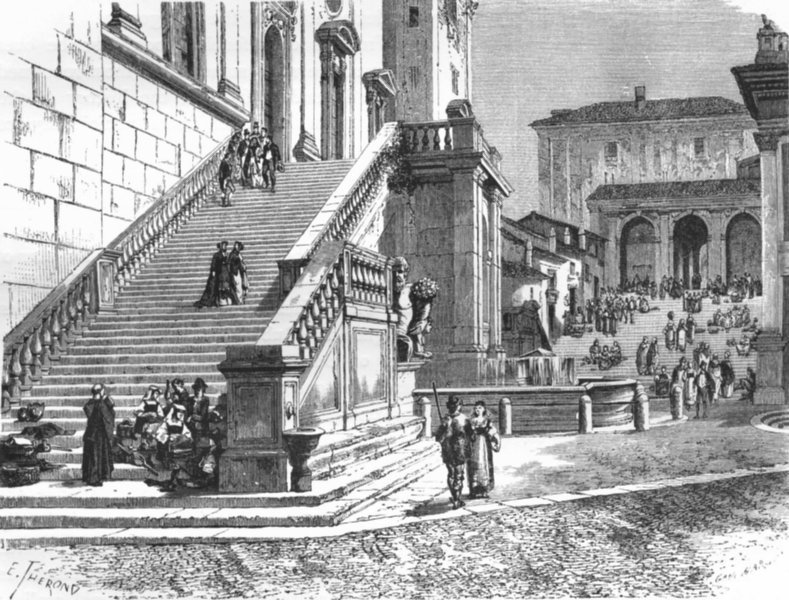 Associate Product ROME. Steps of Senatorial Palace. Tarpeian stairs 1872 old antique print